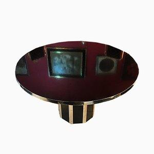 Table de Salle à Manger Ronde Laquée Noire par Willy Rizzo, 1970s