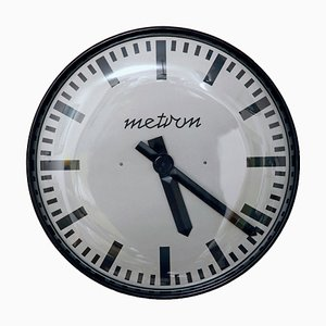 Model TYP Z-857 Black Wall Clock from Metron, 1970s