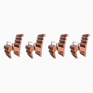 Armlehnstühle aus Stahl & Leder, 1990er, 4er Set