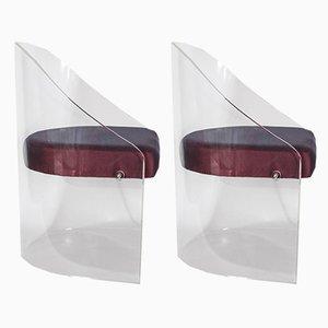 Schreibtisch & Stuhl aus Plexiglas, 2er Set