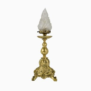 Rococo Style White Frosted Glass and Bronze Table Lamp, 1930s