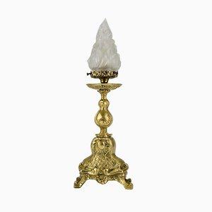 Tischlampe aus weißem Milchglas & Bronze im Rokoko-Stil, 1930er