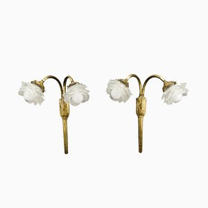 French Art Deco White Frosted Glass and Bronze Sconces, 1930s, Set of 2