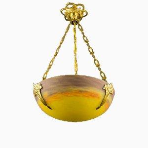 Hängelampe aus gelbem Kunstglas im Jugendstil von Muller Frères, 1920er