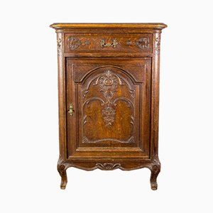 Vintage Rococo Style French Carved Oak Nightstand, 1920s