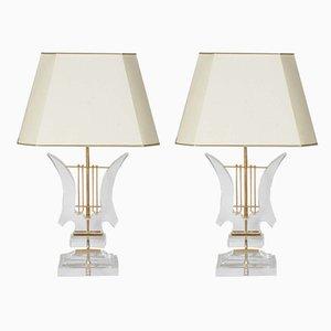 Tischlampen aus Plexiglas, 1970er, 2er Set
