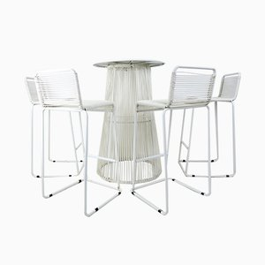 Vintage Rubber Cord Table and High Stools, Set of 5