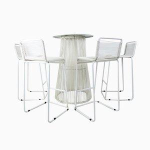 Vintage Tisch mit Hockern aus Kautschuk & Stahl, 5er Set