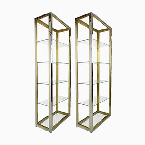 Hollywood Regency Brass and Smoked Glass Shelves by Renato Zevi, 1970s, Set of 2
