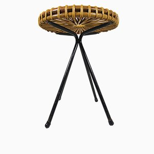 Vintage Rattan and Metal Stool by Dirk van Sliedregt for Rohé Noordwolde