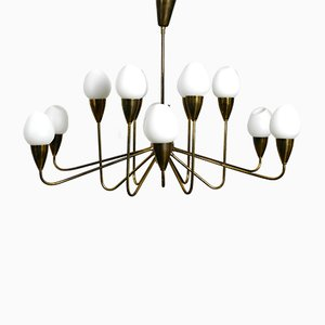 Large Mid-Century Brass and Opaline Glass Chandelier, 1950s