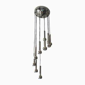 Lámpara de techo en cascada era espacial de metal cromado, años 70