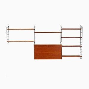 Teak String Wall Unit by Kajsa & Nisse Strinning for String, 1960s