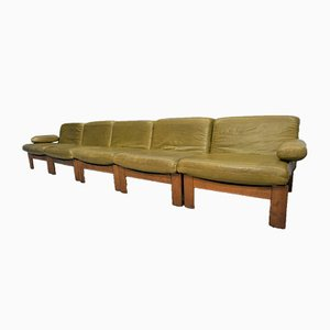 Dutch Oak and Leather Modular Sofa, 1960s