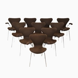 Model 3207 Dining Chairs by Arne Jacobsen for Fritz Hansen, 1978, Set of 10