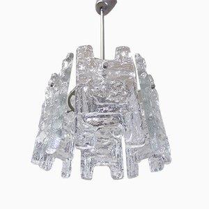Lámpara de araña austriaca de vidrio esmerilado y níquel de J. T. Kalmar para Kalmar, años 60
