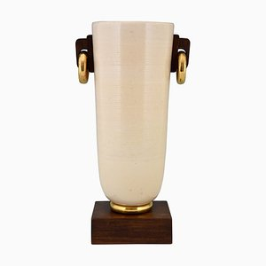 Art Deco Ceramic and Wood Vase, 1930s