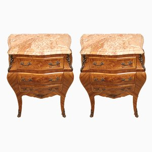 Louis XV Style French Rosewood Nightstands, 1950s, Set of 2