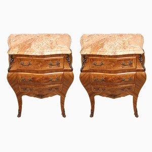 Tables de Chevet Style Louis XV en Palissandre, France, années 50, Set de 2