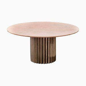 Round Pink Marble and Cast Bronze Pedestal Doris Dining Table by Fred & Juul