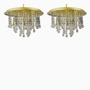 German Crystal and Brass Ceiling Lamps from Faustig, 1980s, Set of 2