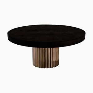 Round Ebonized Reclaimed Oak and Cast Bronze Doris Pedestal Dining Table by Fred & Juul