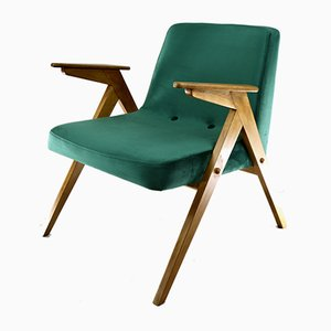 Vintage Green Velvet Armchair by Józef Chierowski, 1970s