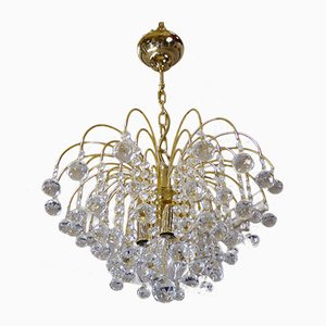 German Crystal and Brass Chandelier by Christoph Palme for Palwa, 1970s
