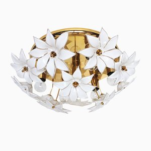 Italian Murano Glass and Gilt Brass Ceiling Lamp, 1970s