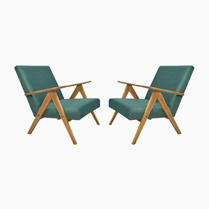 Mid-Century Green Velvet Model B310 Armchairs, 1960s, Set of 2