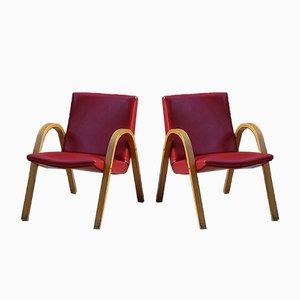 Poltrone rosse di Hugues Steiner per Steiner, anni '60, set di 2