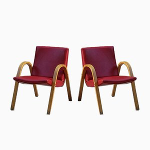 Red Lounge Chairs by Hugues Steiner for Steiner, 1960s, Set of 2