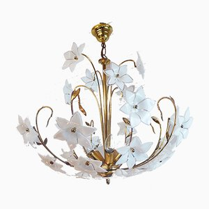 Lámpara de araña italiana de cristal de Murano y latón dorado, años 70
