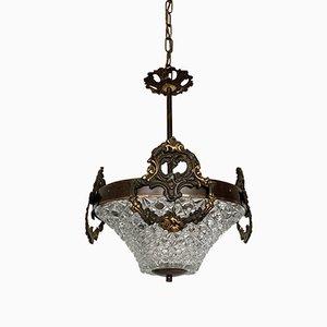 Lámpara de techo vintage de latón y vidrio facetado