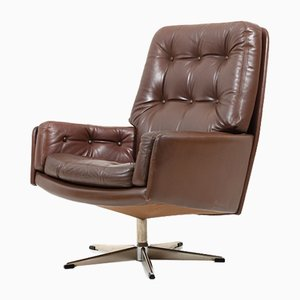 Danish Brown Leather Swivel Chair, 1960s