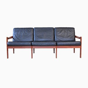 Mid-Century Danish Teak and Leather Sofa by Illum Wikkelsø for Niels Eilersen, 1960s
