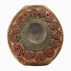 Jarrón brutalista Mid-Century de cerámica de Bernard Rooke, años 60