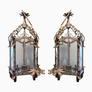 Vintage Wrought Iron Lanterns, 1940s, Set of 2