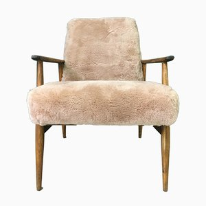 Mid-Century Brown Sheepskin Armchair