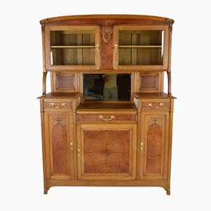 Antique Art Nouveau French Oak and Elm Buffet, 1910