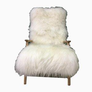 Mid-Century White Sheepskin Armchair
