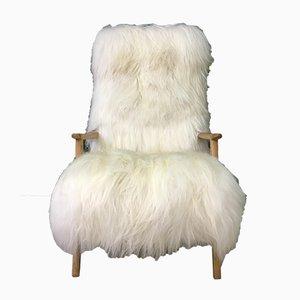 Fauteuil Mid-Century en Peau de Mouton Blanche
