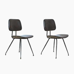 Italian Steel and Wood Model D12 Dining Chairs by Mario Rinaldi for Rima, 1950s, Set of 2