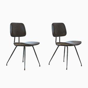 Italienische Modell D12 Esszimmerstühle aus Stahl & Holz von Mario Rinaldi für Rima, 1950er, 2er Set