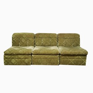 Vintage Green Velvet Modular Sofa, 1960s, Set of 3