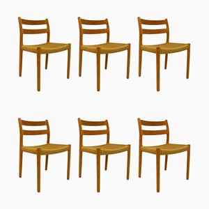 Model 84 Dining Chairs by Niels Otto Møller for J.L. Møllers, 1970s, Set of 6