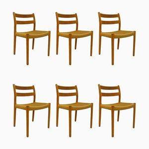 Sedie da pranzo nr. 84 di Niels Otto Møller per J.L. Møllers, anni '70, set di 6