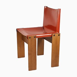 Red Leather and Walnut Dining Chair by Tobia & Afra Scarpa for Molteni, 1970s