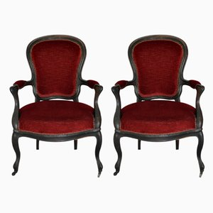 Antique Louis Philippe Style Italian Lounge Chairs, Set of 2