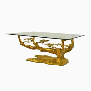 Brass and Glass Bonsai Coffee Table by Willy Daro, 1970s